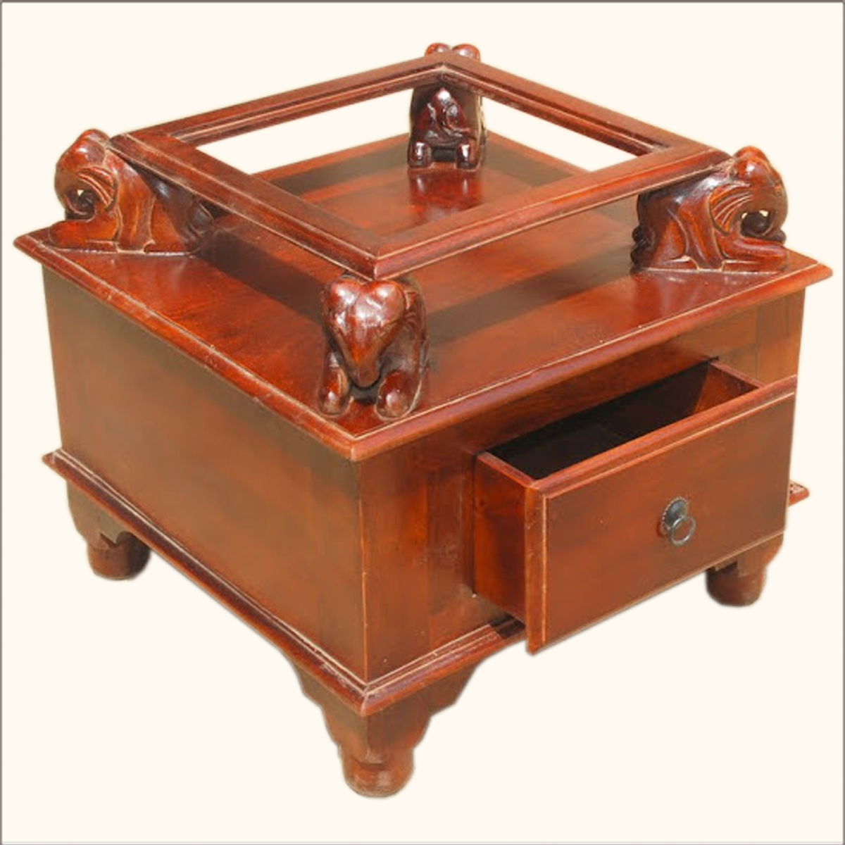 1. Wood Elephant Legs Single Drawer End Table