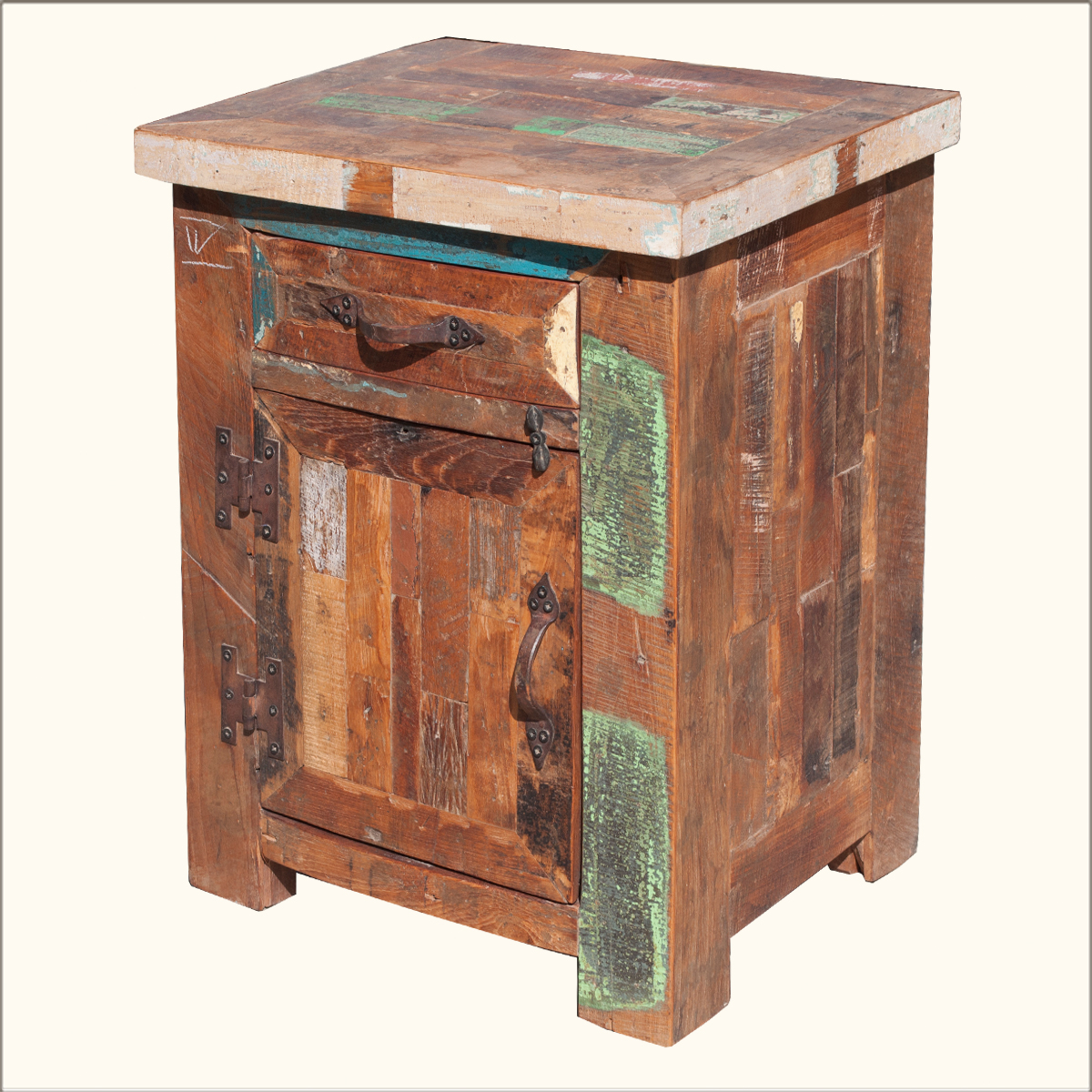 Rustic old reclaimed wood nightstand bedside storage for Bedside tables with storage