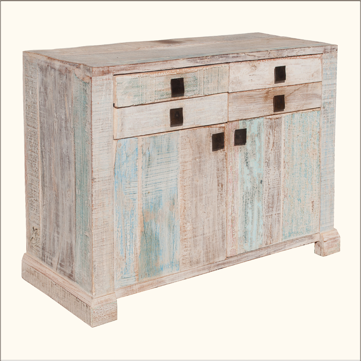Rustic Old Reclaimed Wood Distressed Storage Cabinet