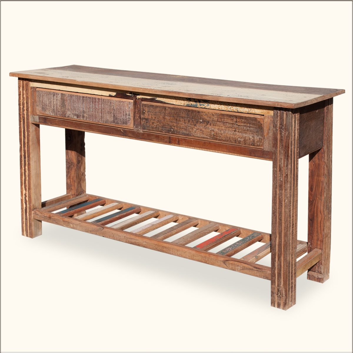 Rustic reclaimed wood tier storage drawer console foyer