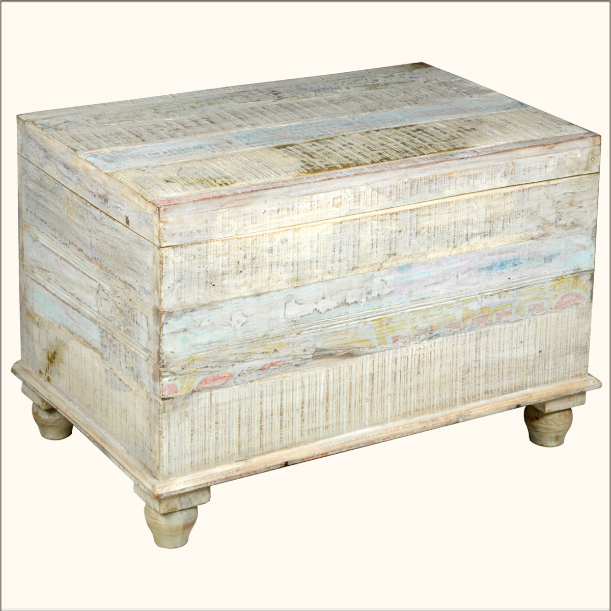 Old Reclaimed Wood White Storage Box Trunk Coffee Table Chest Furniture Ebay
