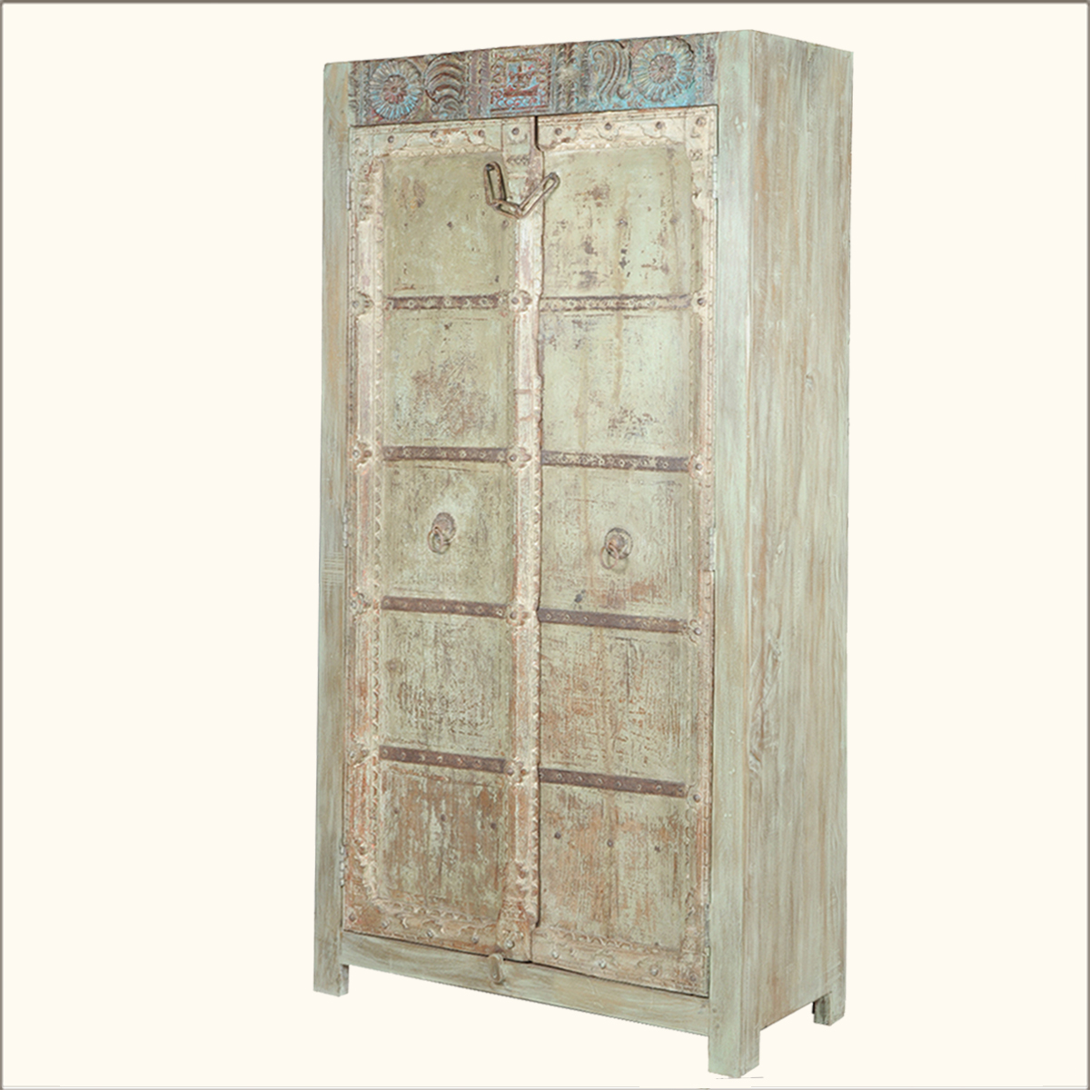 Anitque Style Old Reclaimed Wood Two Door Armoire Storage Cabinet . Full resolution  img, nominally Width 1200 Height 1200 pixels, img with #907D3B.