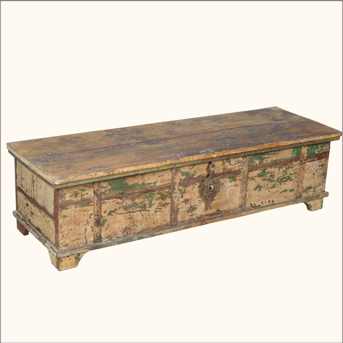 Distressed Old Wood Coffee Table Chest Trunk Storage Box EBay