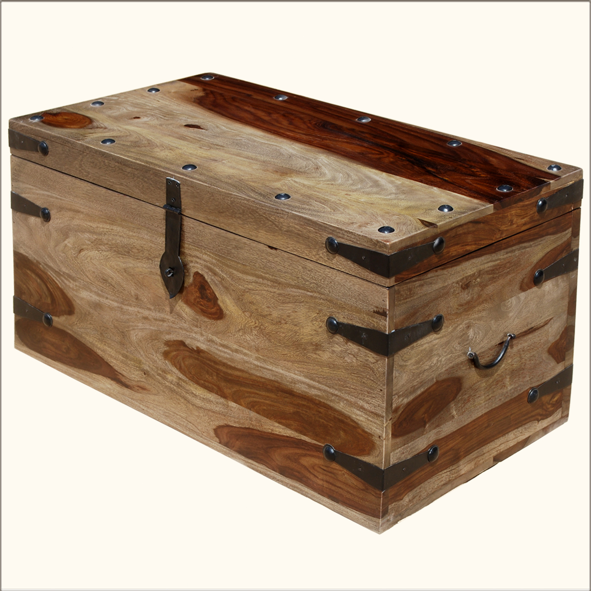 large solid wood wrought iron storage toy blanket box