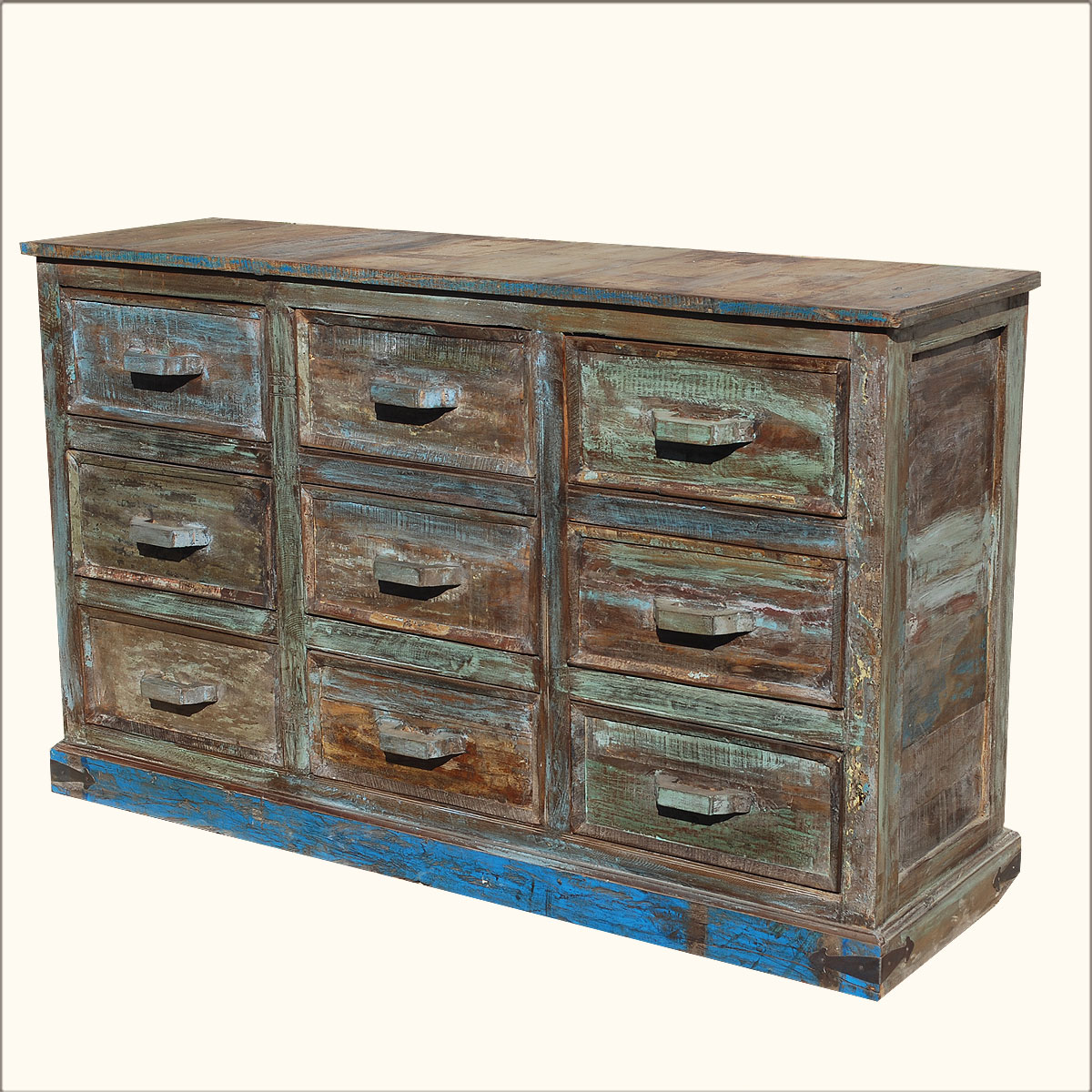 Rustic Reclaimed Wood Distressed 9 Drawer Vanity Drawer