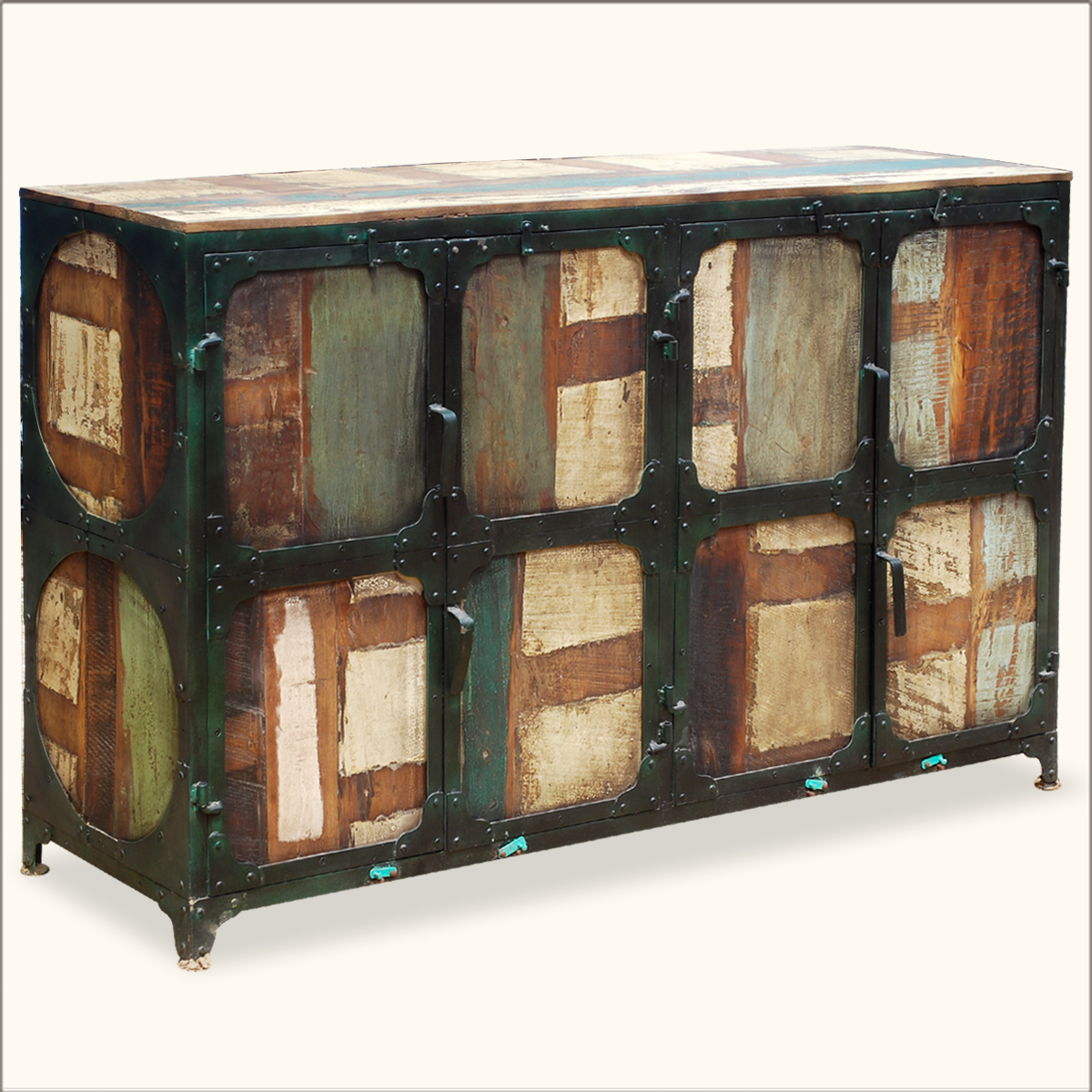 Wood Buffets Credenzas Sideboards: Industrial Iron Rustic Old Reclaimed Wood Sideboard Buffet