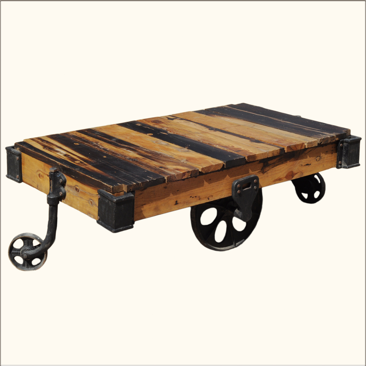 Vintage rustic reclaimed wood factory cart coffee table on for Coffee tables on wheels