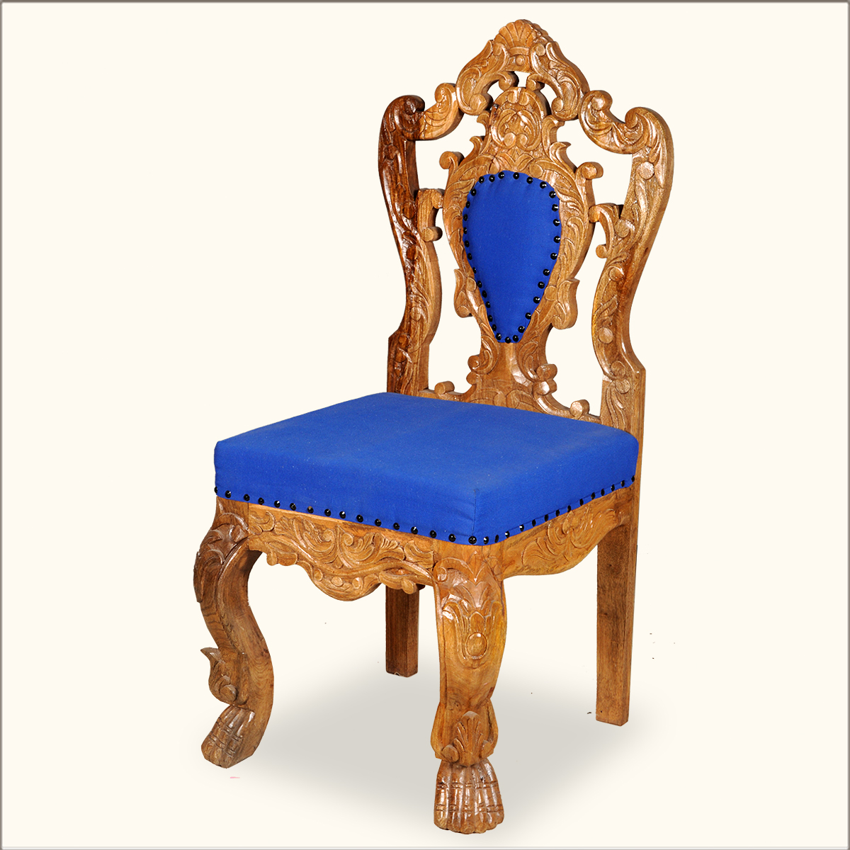 Royal hand carved gold blue wood rococo revival accent for Plastic baroque furniture