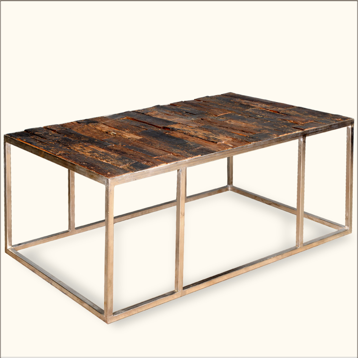 Reclaimed wood railroad ties iron rustic coffee table furniture ebay Rustic iron coffee table
