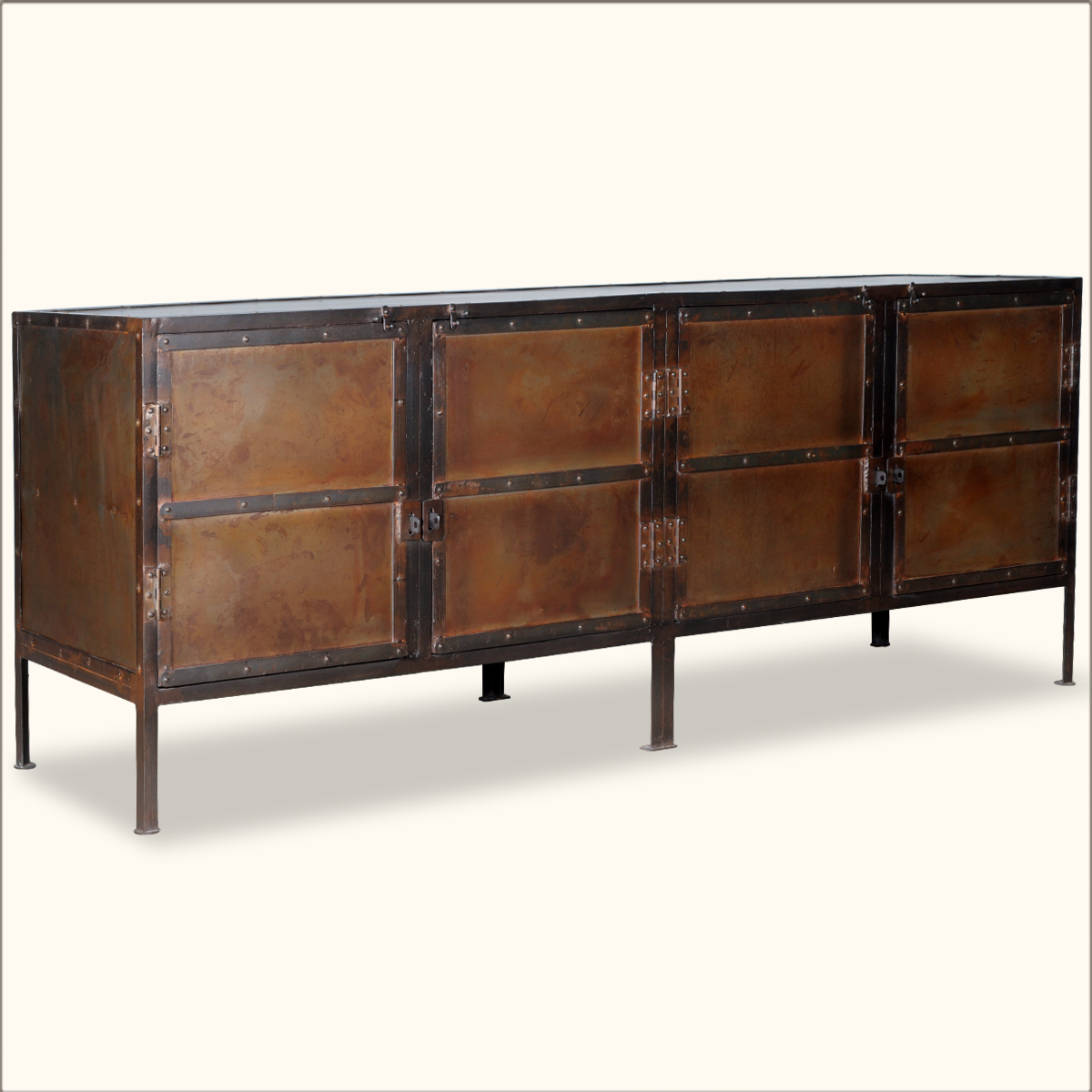 Industrial iron quot door rustic storage buffet sideboard
