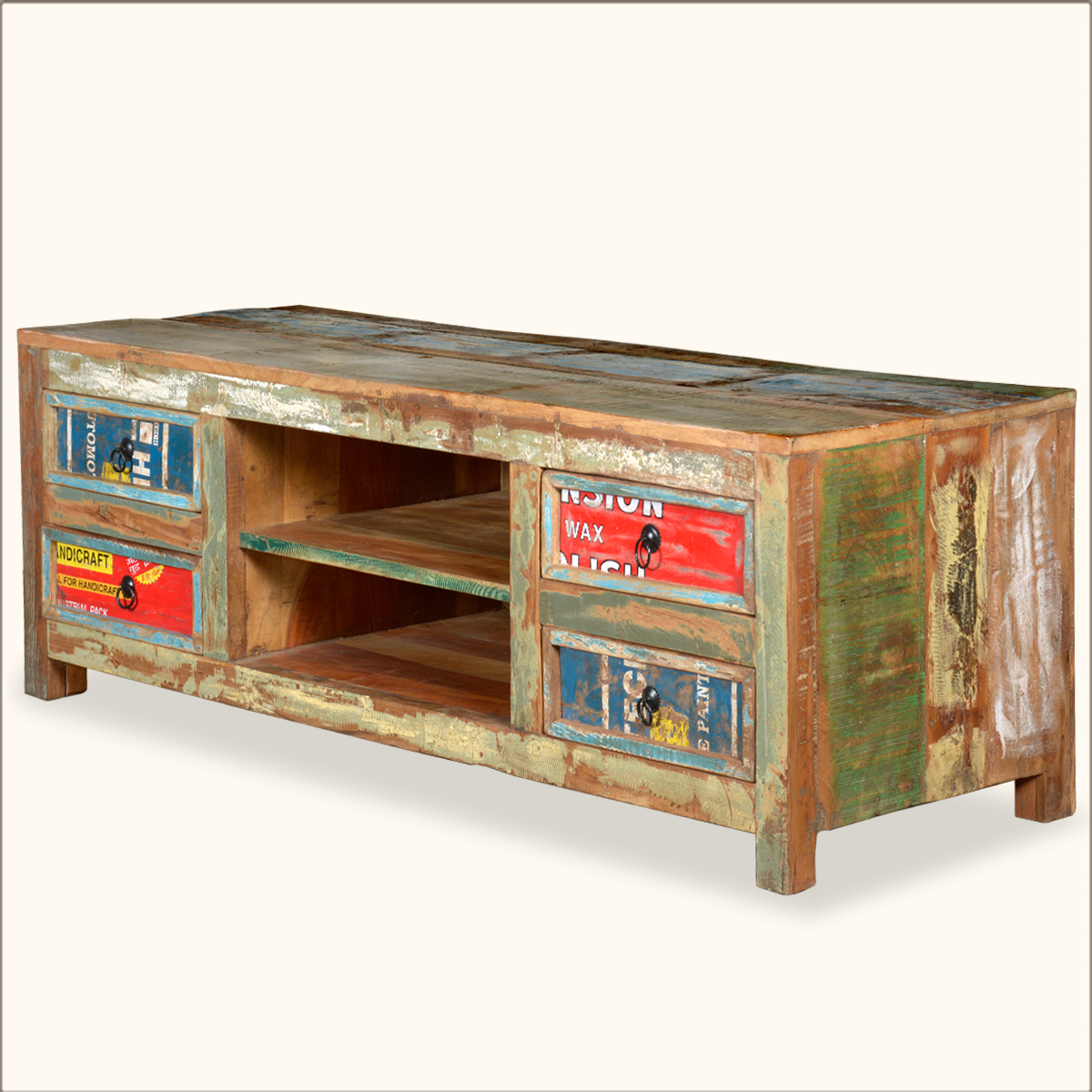 Reclaimed Wood Distressed Tv Stand Media Console