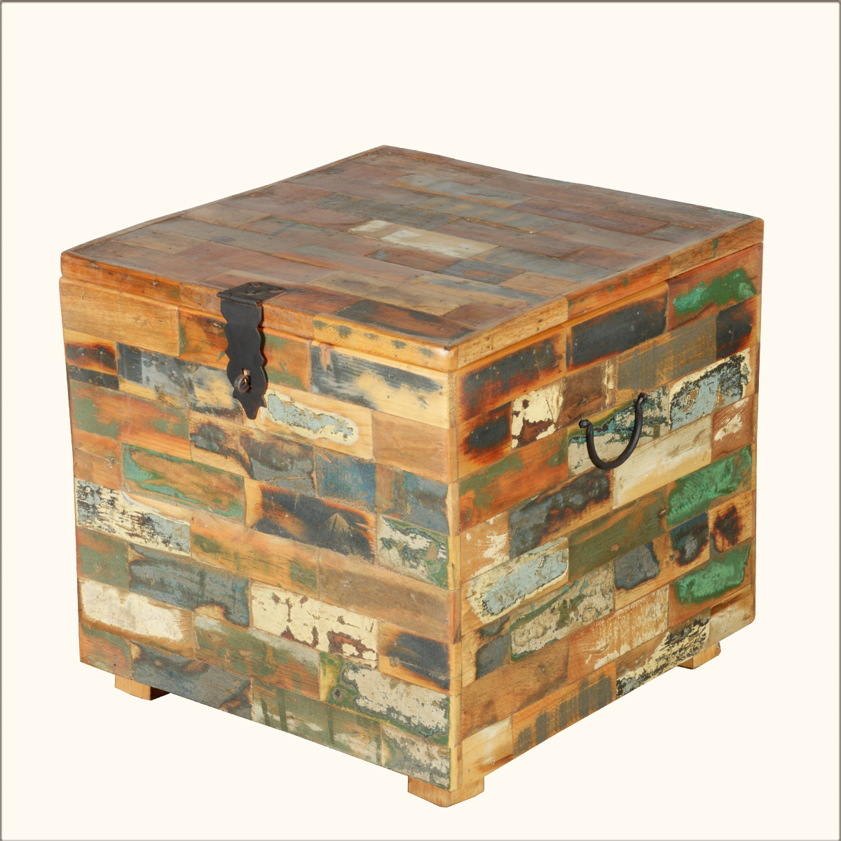 Reclaimed Wood Square Distressed Rustic Coffee Table Storage Chest Box Furniture Ebay