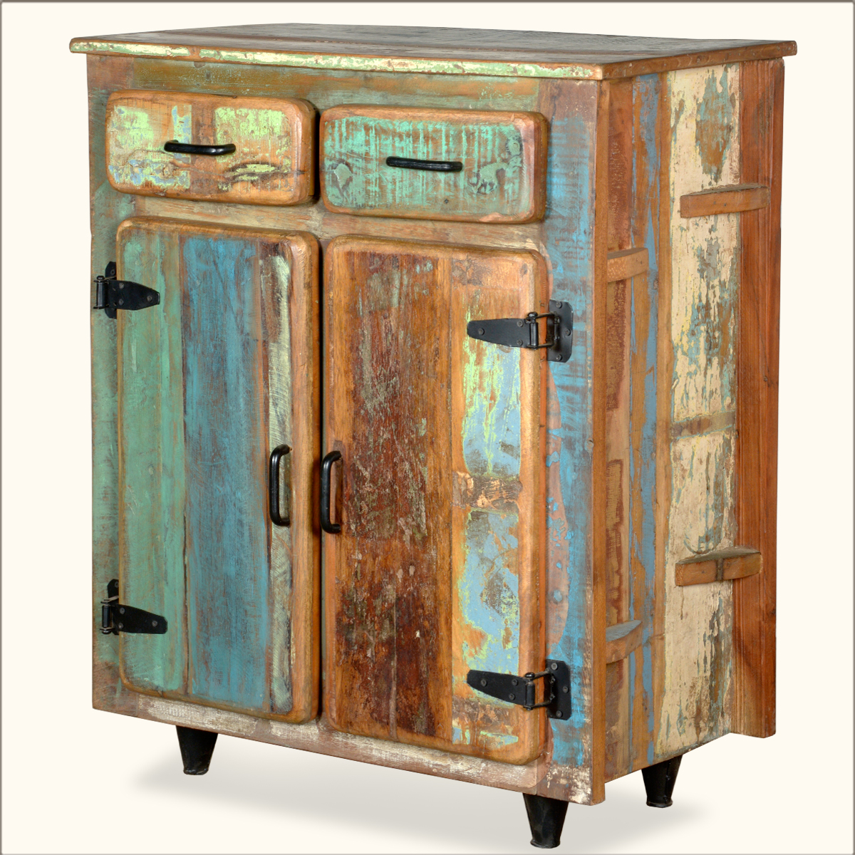 Reclaimed Old Wood Rustic Kitchen Utility Storage Cabinet