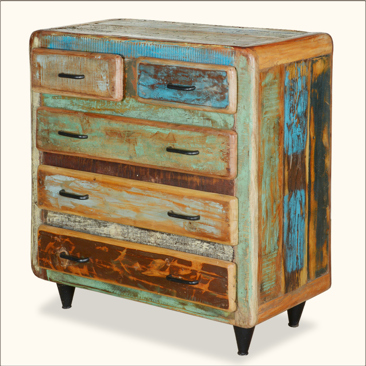 Reclaimed Wood Rustic 5 Storage Drawer Chest Bedroom Dresser Cabinet Furniture Ebay