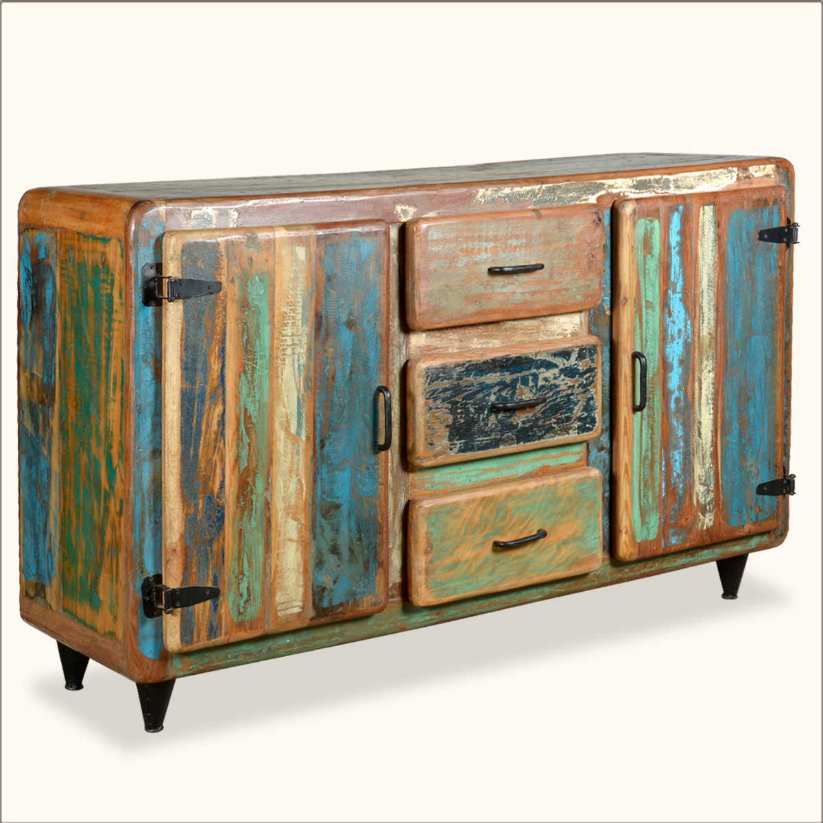 Retro reclaimed wood distressed rustic storage cupboard