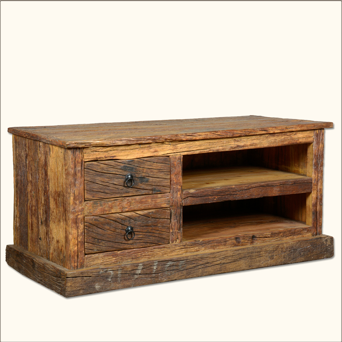 Reclaimed wood rustic railroad ties tv stand media console Rustic tv stands
