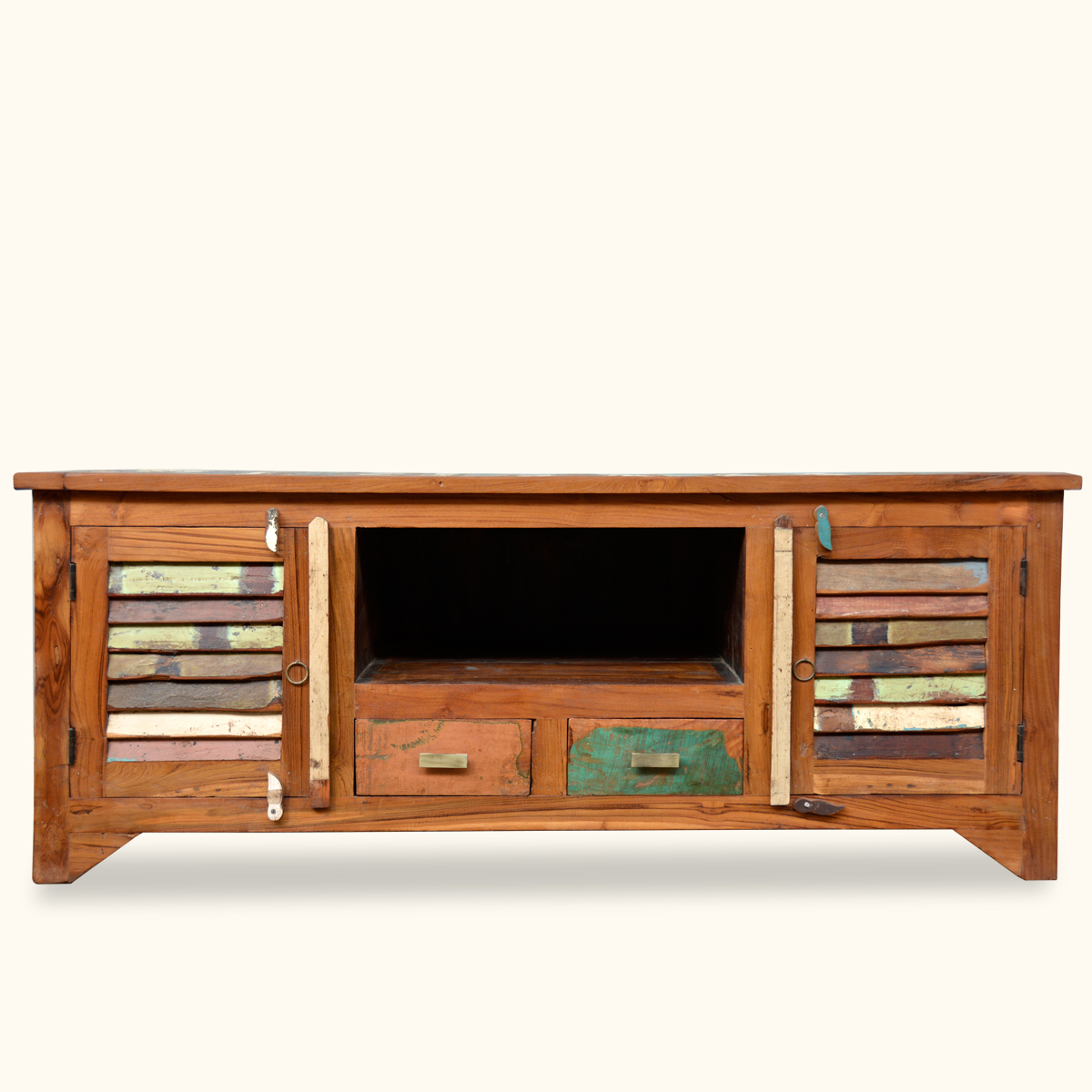 Reclaimed Media Console Rustic Entertainment Center Wooden Cabinet Furniture Ebay