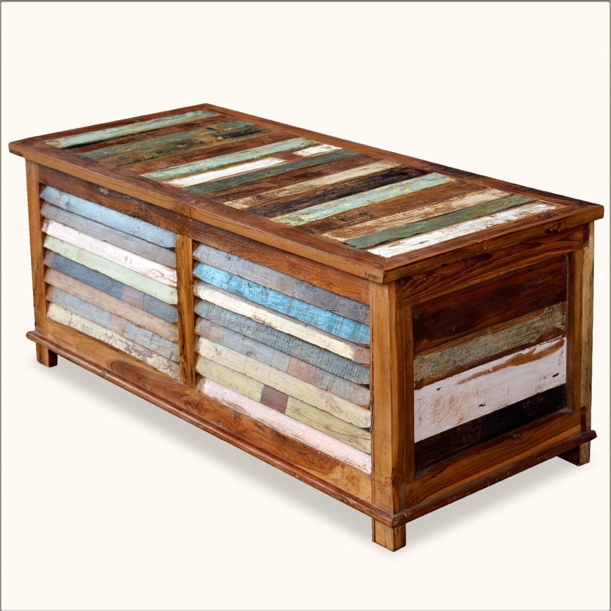 Reclaimed Storage Trunk Coffee Table Rustic Storage Box Multi Color Wooden Chest Ebay