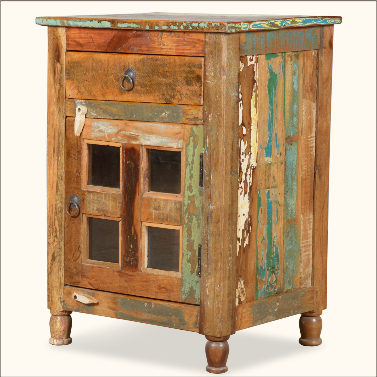 rustic reclaimed end table with storage drawer wood night stand furniture ebay. Black Bedroom Furniture Sets. Home Design Ideas