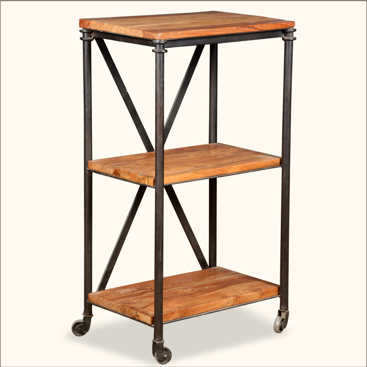 industrial wood 3 tier open shelves iron kitchen rolling. Black Bedroom Furniture Sets. Home Design Ideas