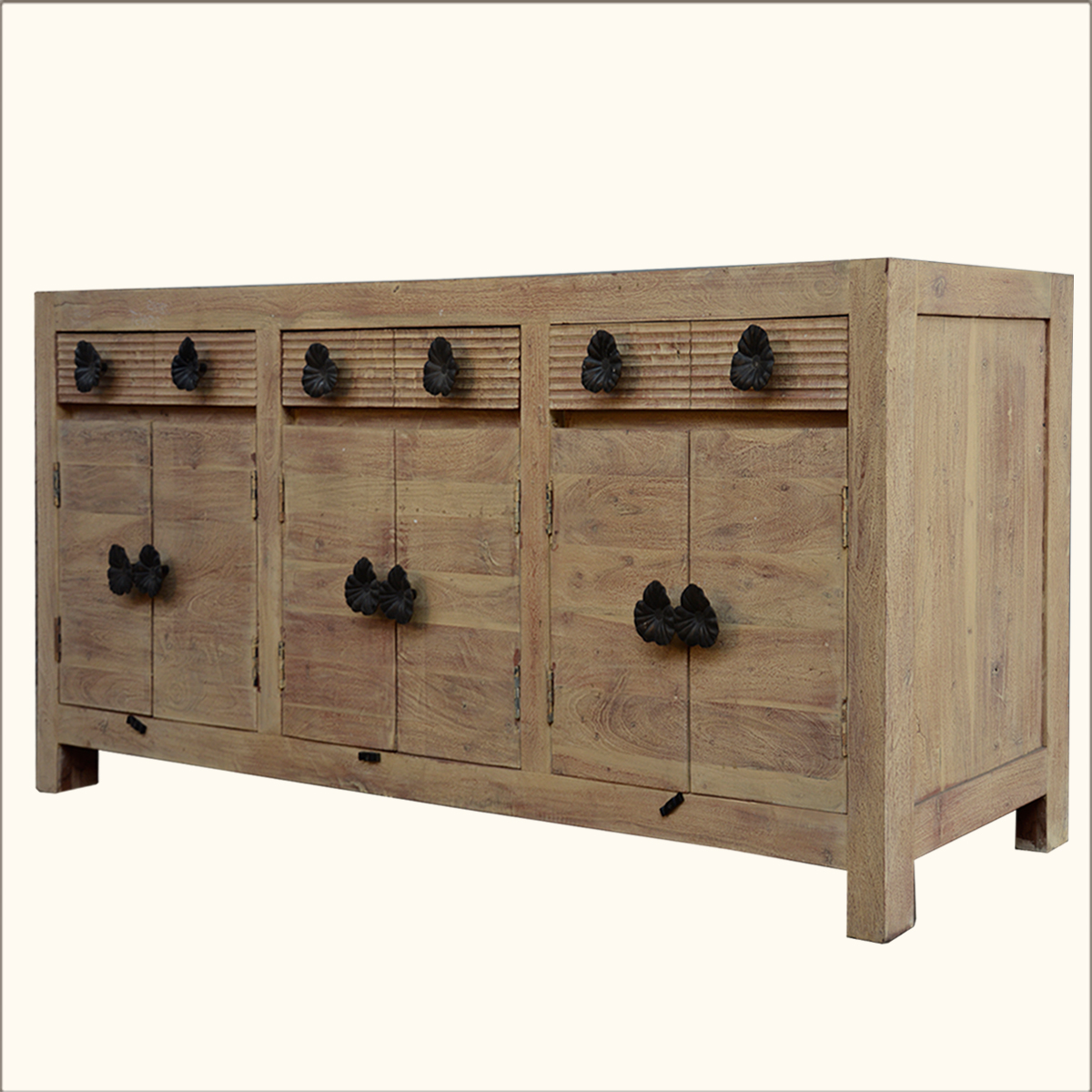 Rustic Reclaimed Wood Buffet Chest Weathered Storage