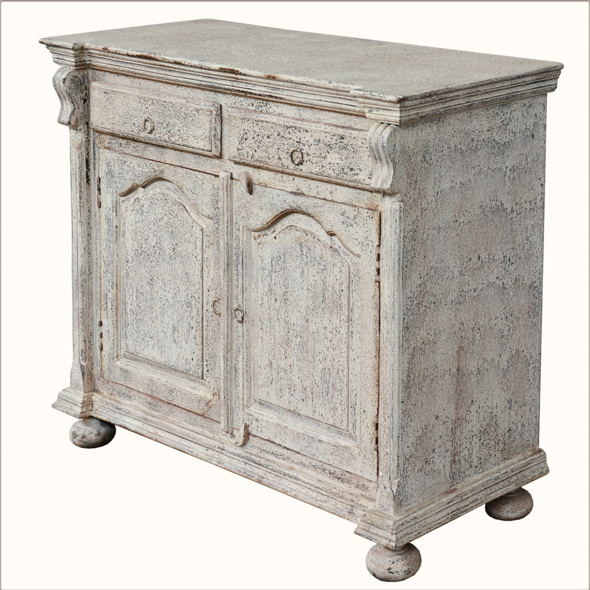 Reclaimed Wood White Rustic Distressed Sideboard Storage