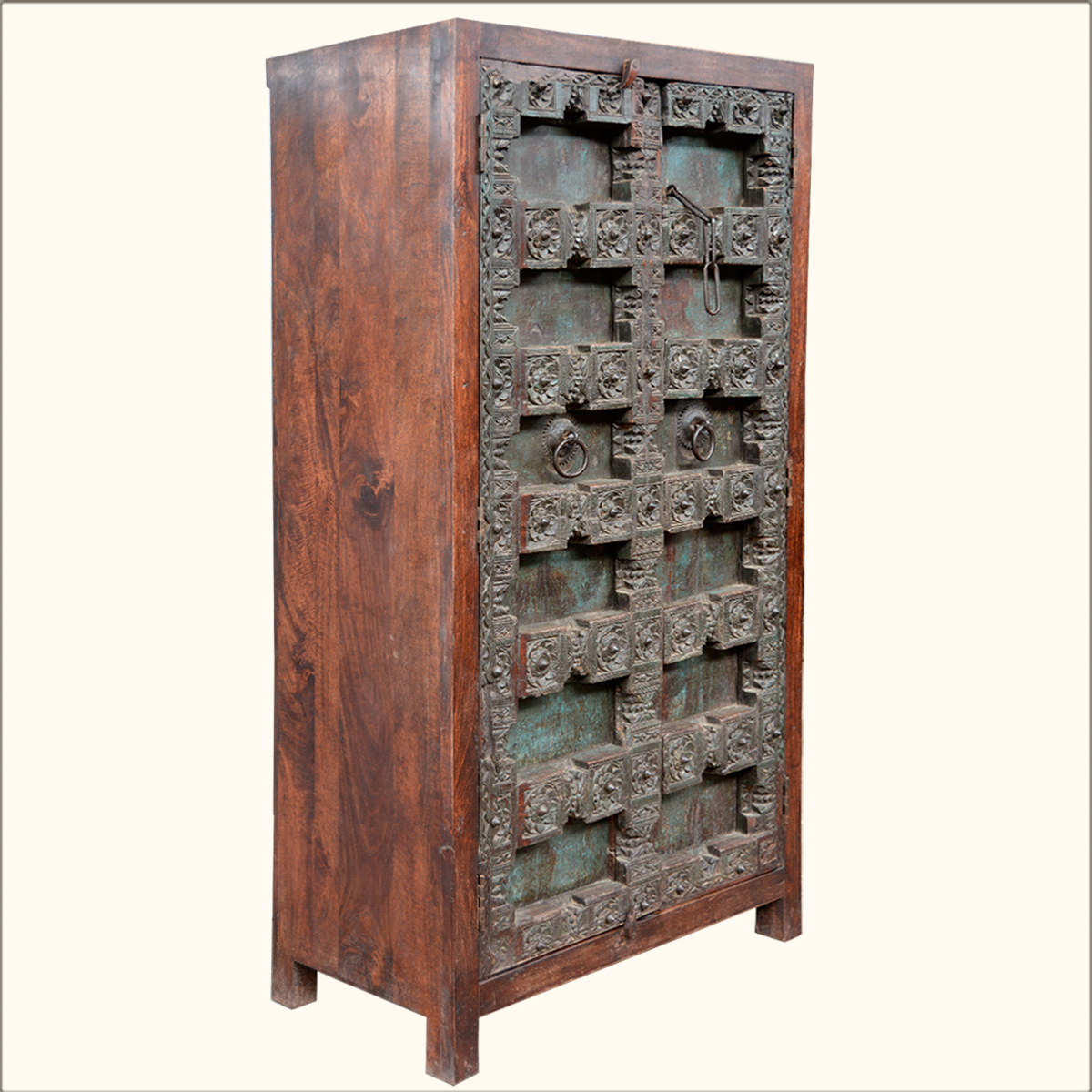 Antique Door Rustic Armoire Old Reclaimed Wood 4 Storage Shelf Cabinet . Full resolution  img, nominally Width 1200 Height 1200 pixels, img with #B48317.