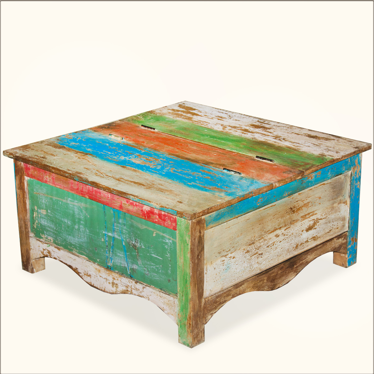 Square old reclaimed wood storage coffee table chest trunk box furniture ebay Coffee table chest with storage