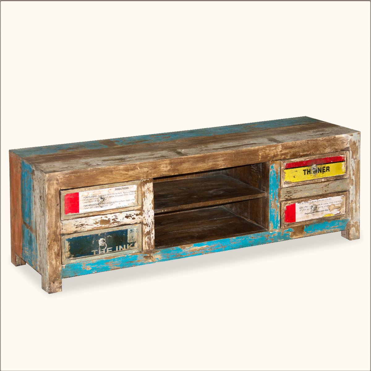 Reclaimed Rustic Old Wood TV Stand Media Cabinet Console