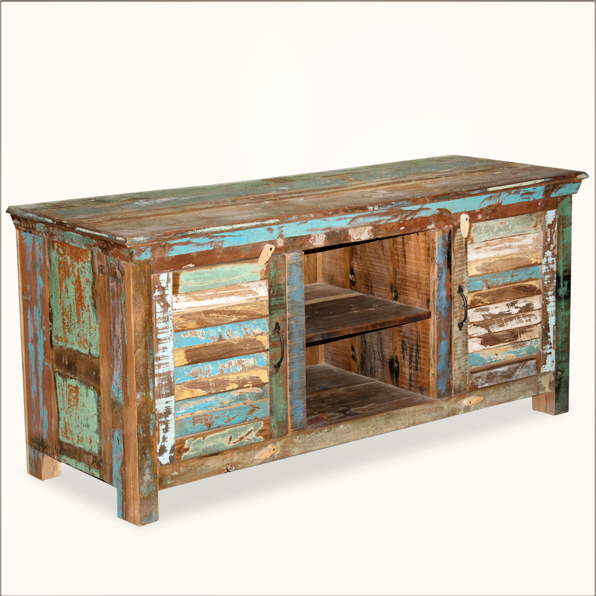 Rustic Shutter Doors Reclaimed Old Wood Tv Stand Media