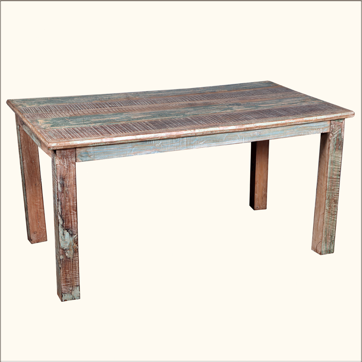 Rustic Reclaimed Wood Distressed Kitchen Dining Table Furniture Ebay