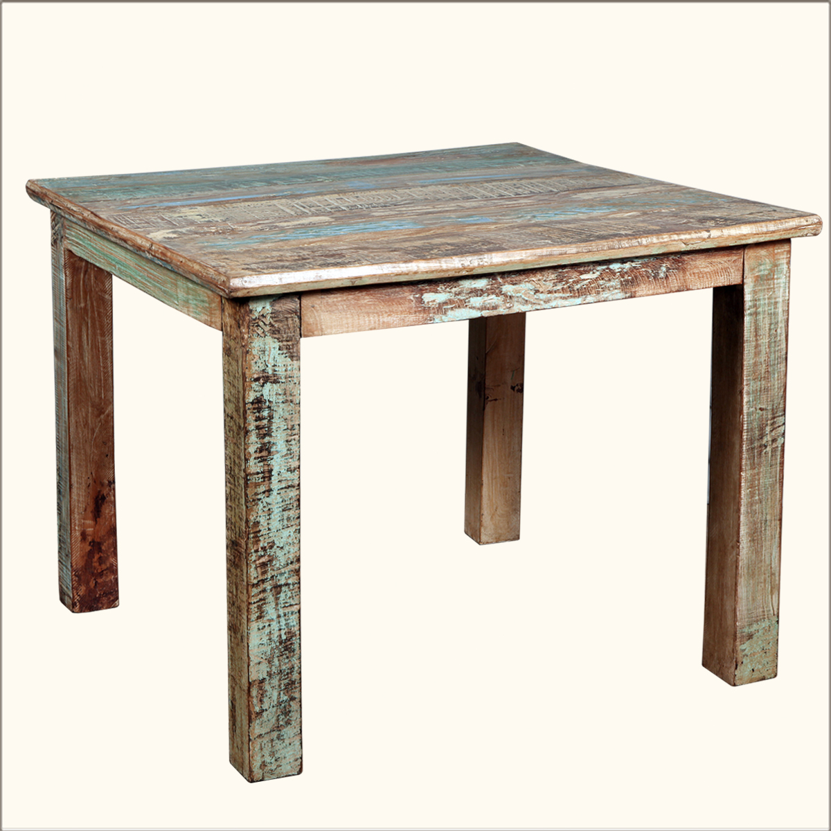 Rustic reclaimed wood distressed 40 square kitchen dining Rustic wood dining table