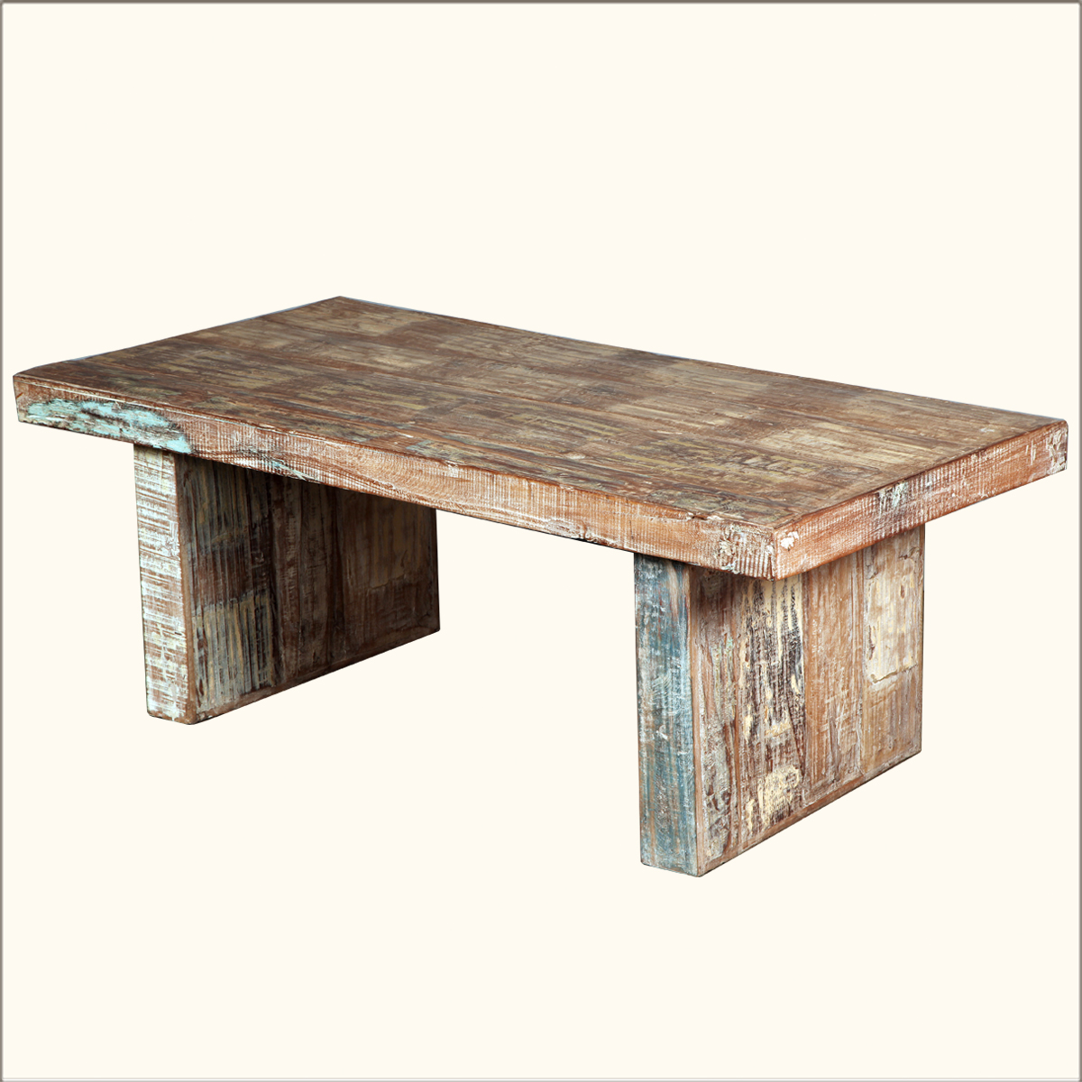 Rustic Reclaimed Wood Coffee Table Distressed Sofa Cocktail Furniture