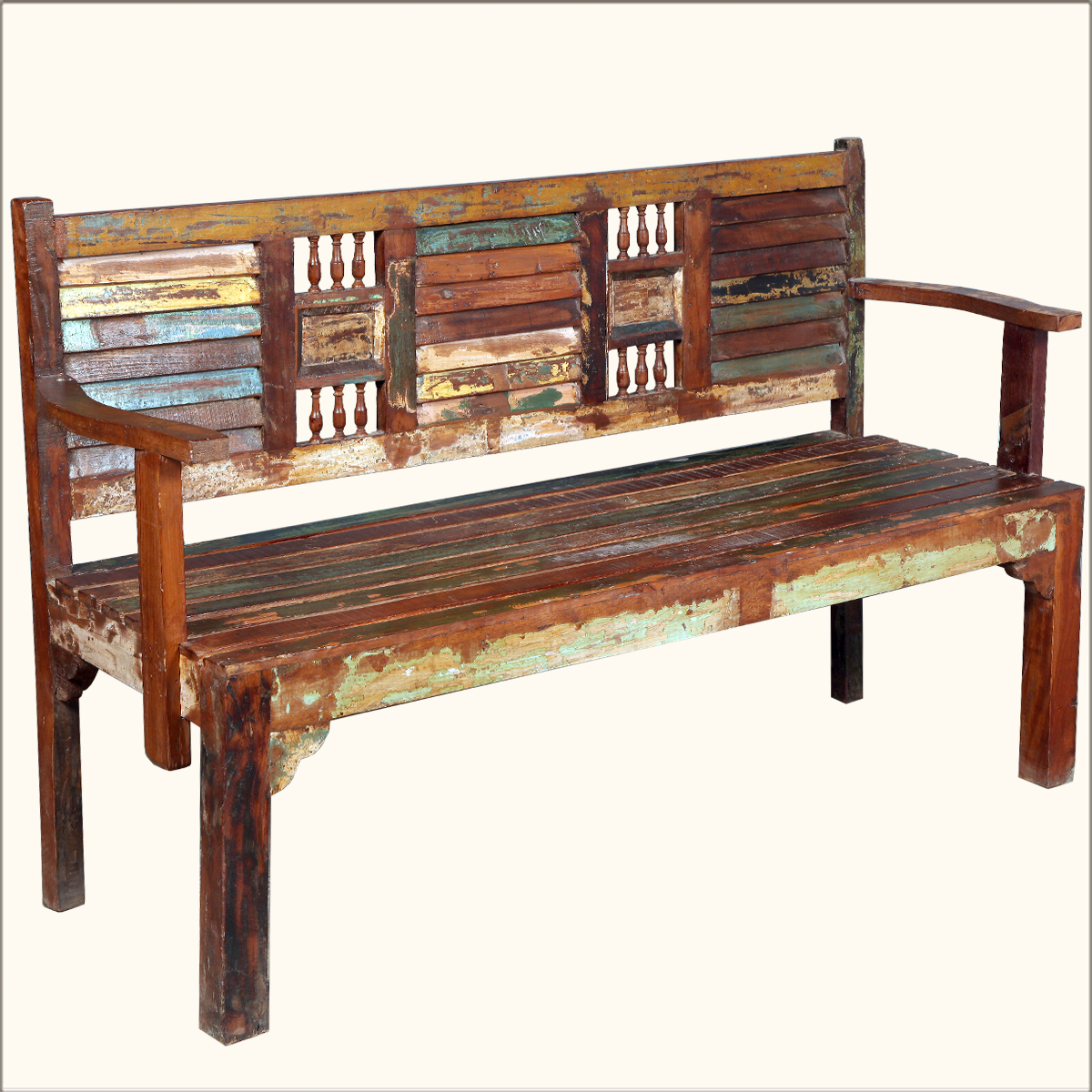 62 reclaimed wood rustic hand carved arms bench indoor. Black Bedroom Furniture Sets. Home Design Ideas