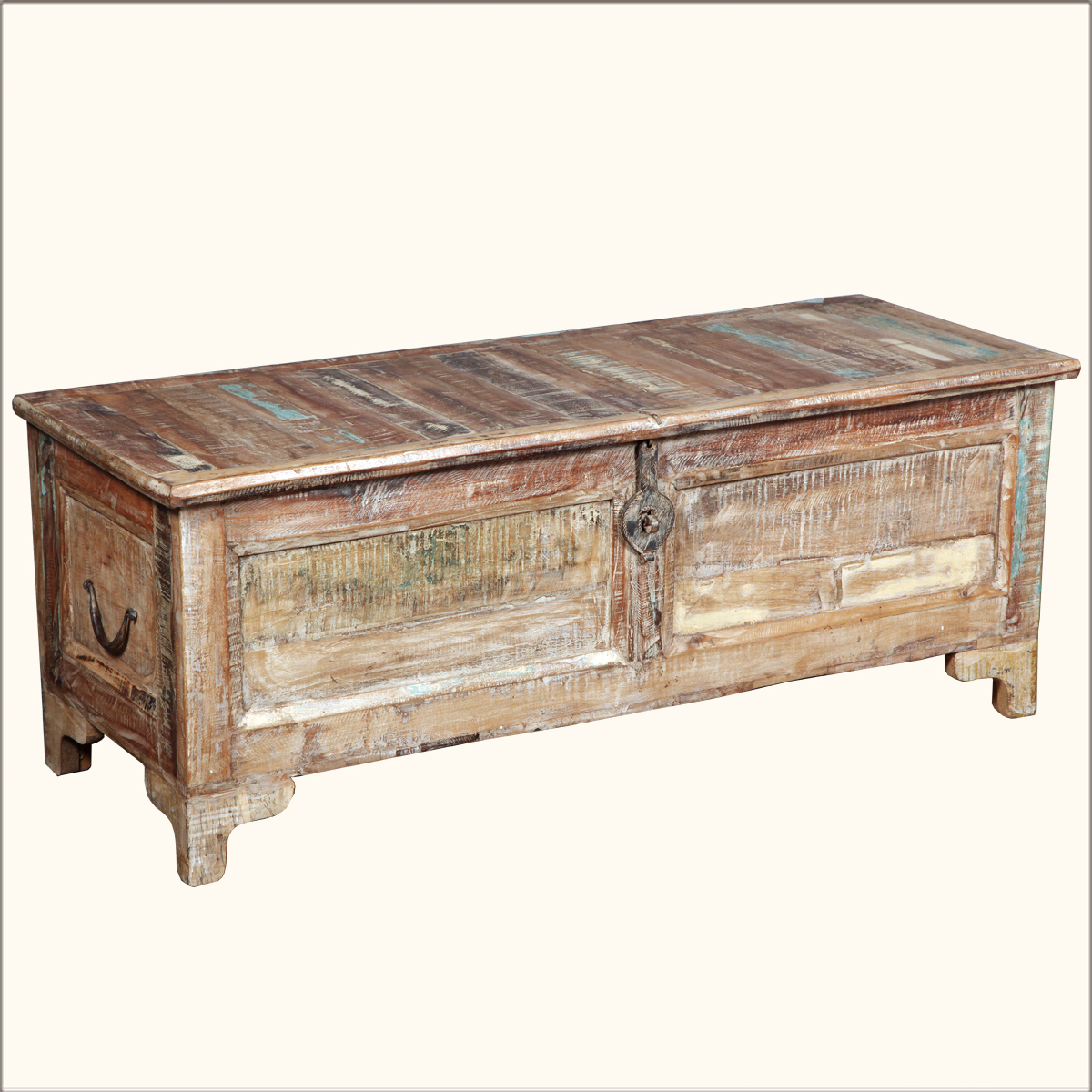 rustic reclaimed wood storage blanket box coffee table