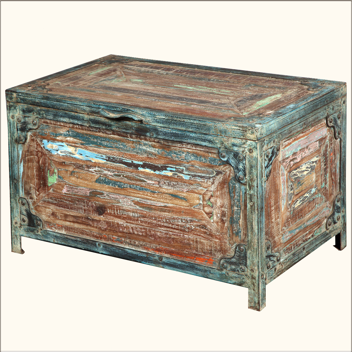 Industrial Iron Reclaimed Wood Rustic Storage Coffee Table Chest Trunk Ebay