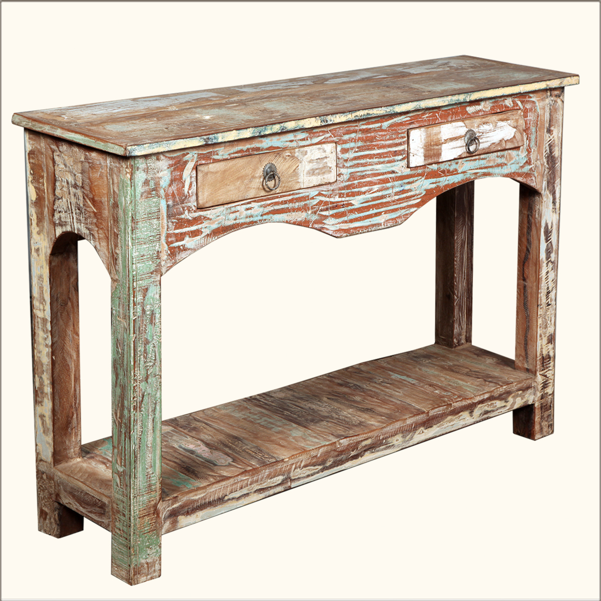 Distressed reclaimed wood 2 drawer rustic console hall for Painted foyer tables