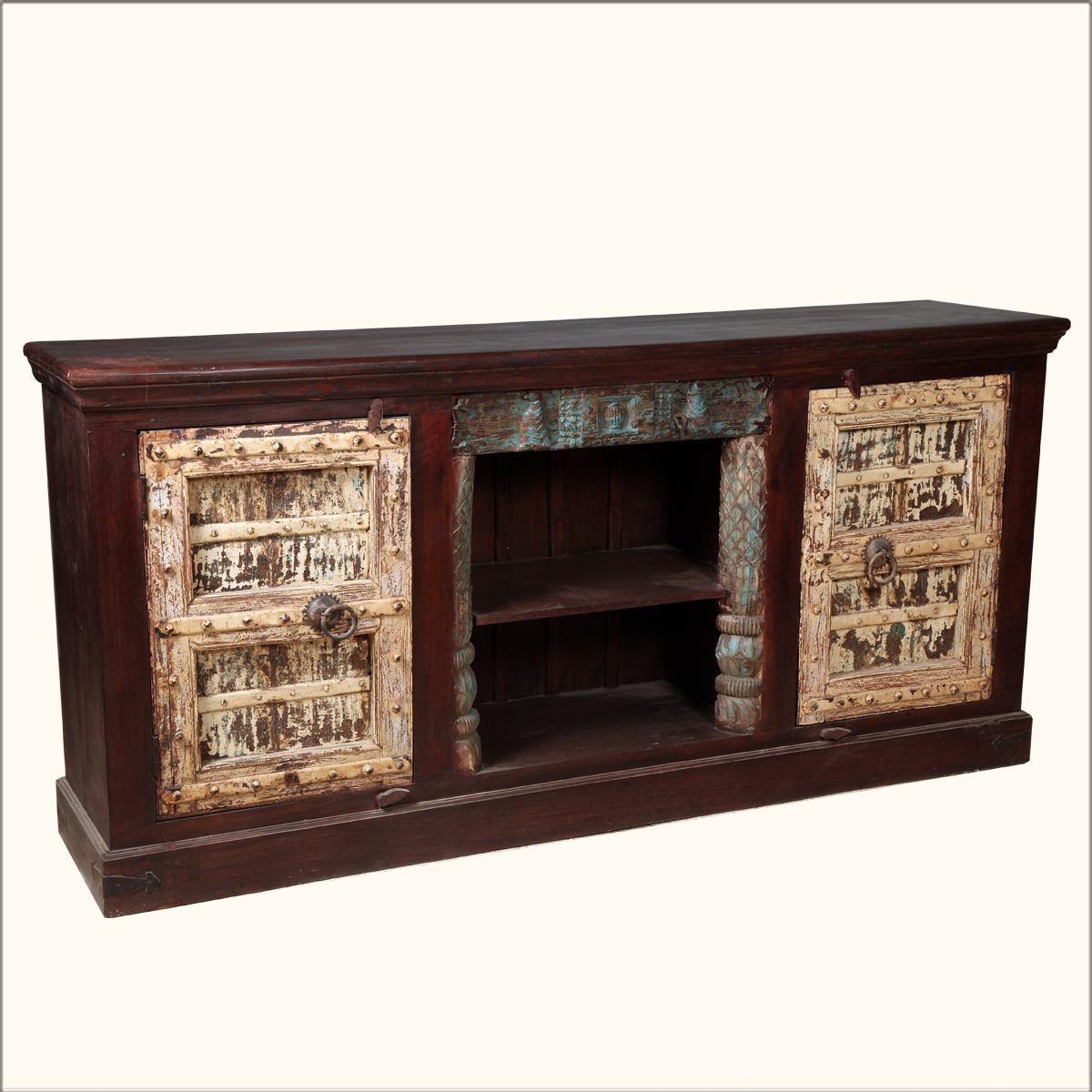 Reclaimed Solid Wood Sideboard Storage Bench: Reclaimed Solid Wood Media Console Rustic Storage