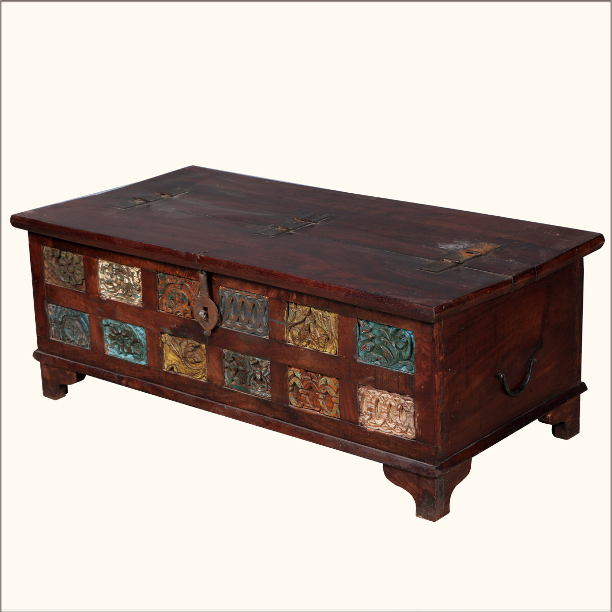 Rustic Reclaimed Wood Storage Trunk Coffee Table Hope Chest Box Furniture