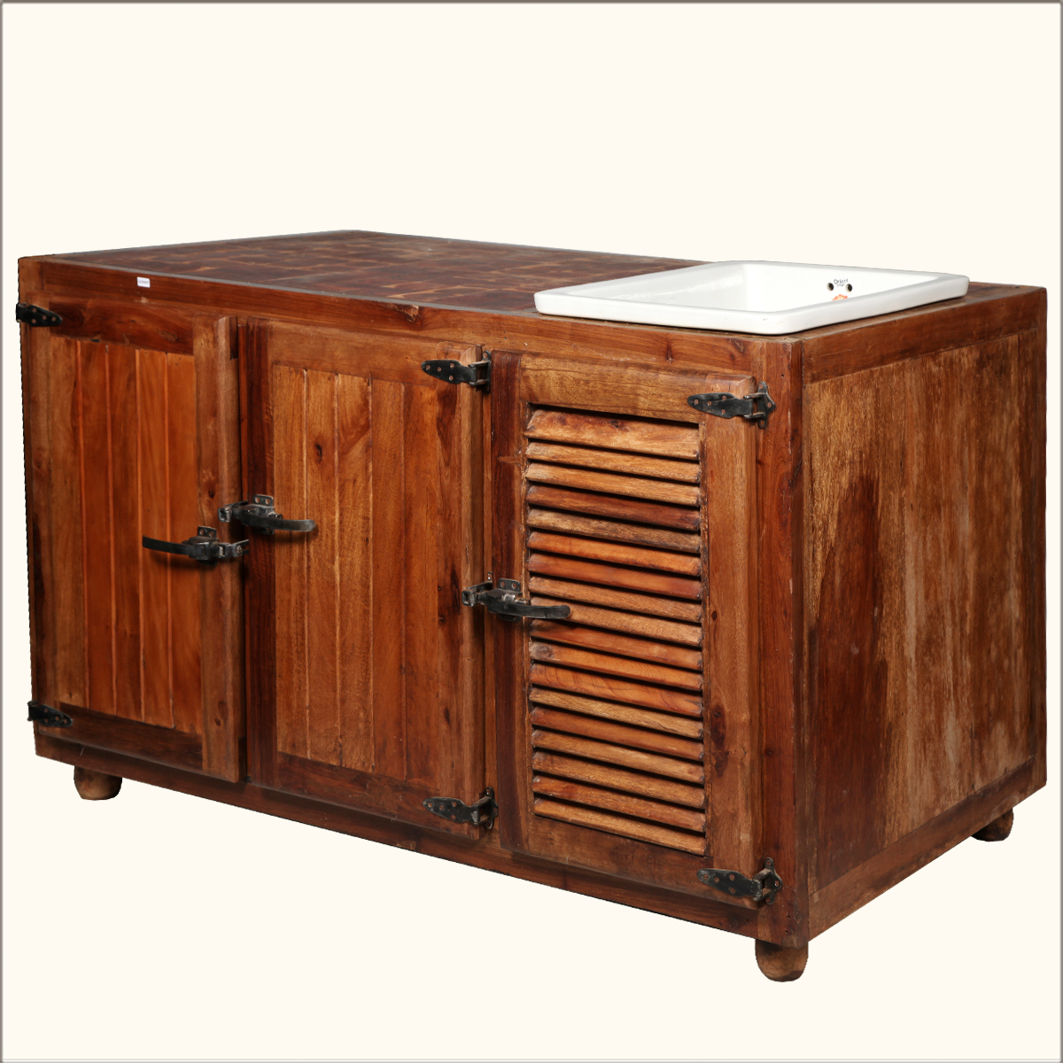 teak wood butcher style top storage cabinet kitchen cart counter island table ebay. Black Bedroom Furniture Sets. Home Design Ideas