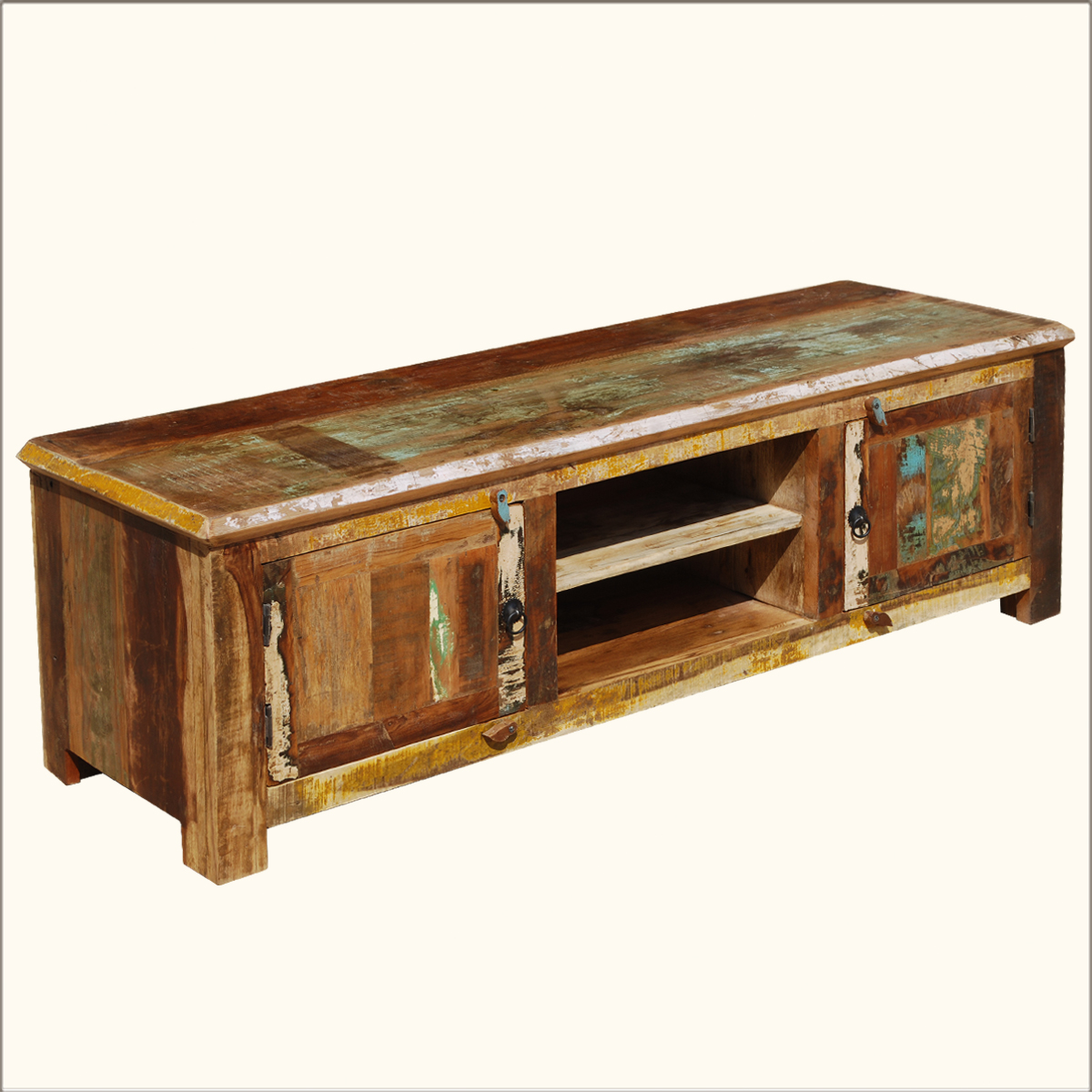 reclaimed wood media stand rustic distressed storage tv entertainment center ebay. Black Bedroom Furniture Sets. Home Design Ideas