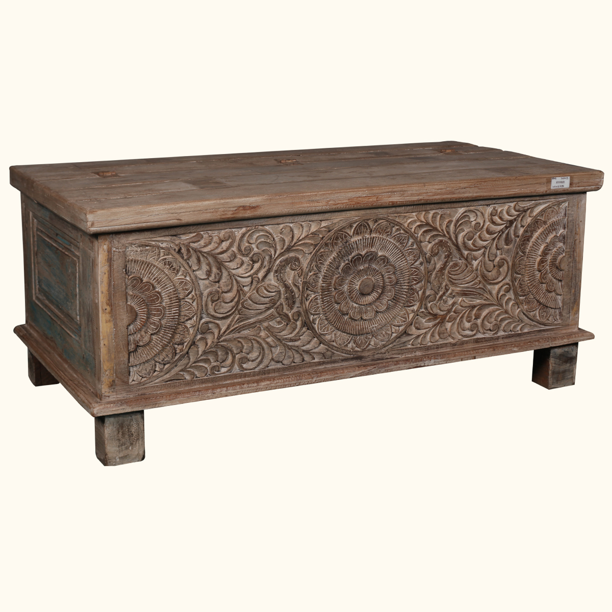 Rustic Hand Carved Reclaimed Wood Coffee Table Trunk
