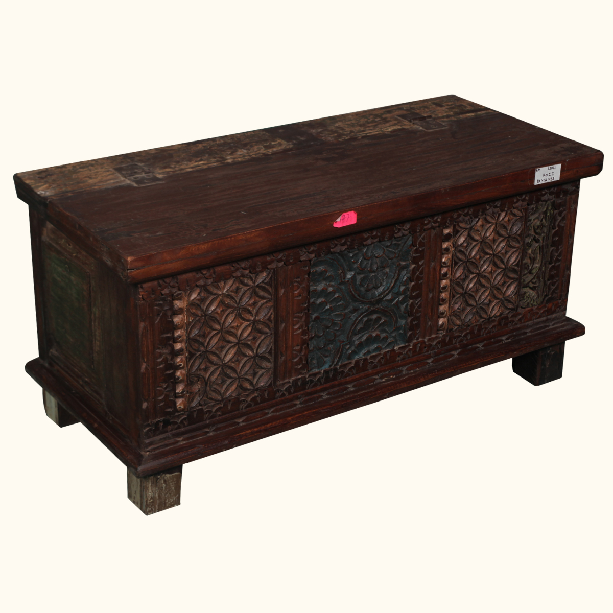 Hand Carved Reclaimed Wood Rustic Storage Chest Coffee Table Hope Box Furniture Ebay