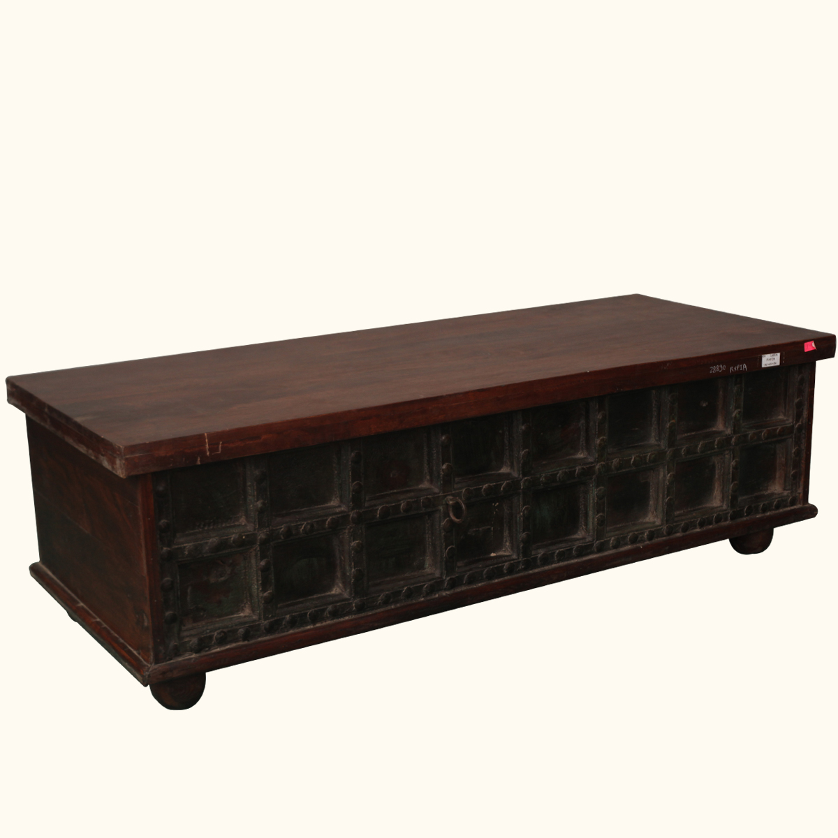 Gothic reclaimed wood iron antique style storage coffee - Trunk style coffee tables ...
