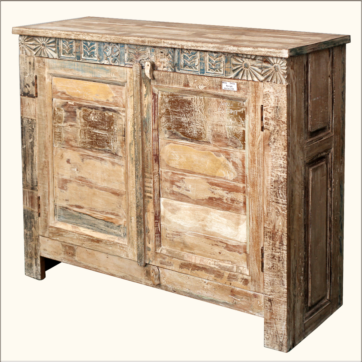 Rustic reclaimed storage cabinet wood distressed sideboard