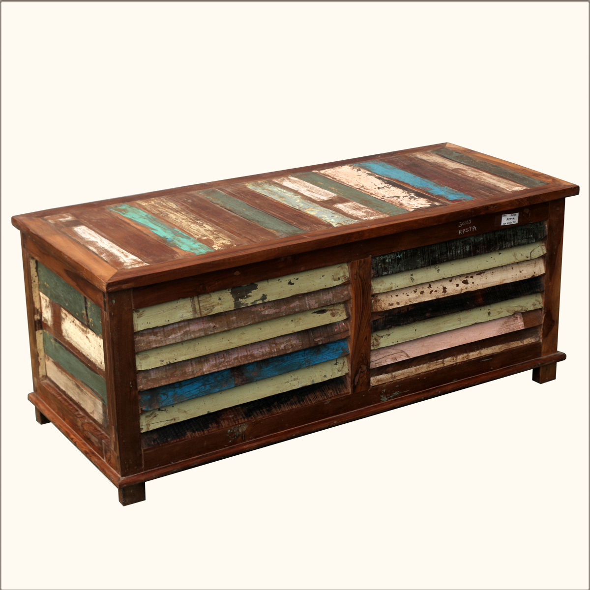 Rustic Multi Color Reclaimed Wood Shutter Coffee Table Storage Blanket Box Chest Ebay