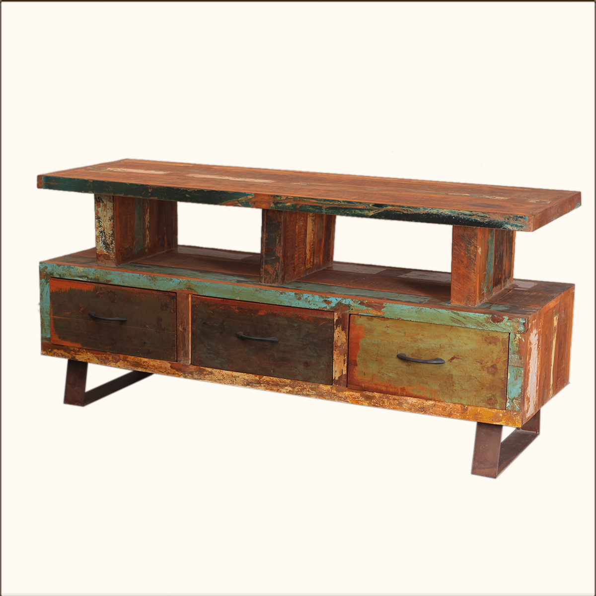 Wood Media Console Furniture ~ Distressed media console rustic reclaimed wood iron tv