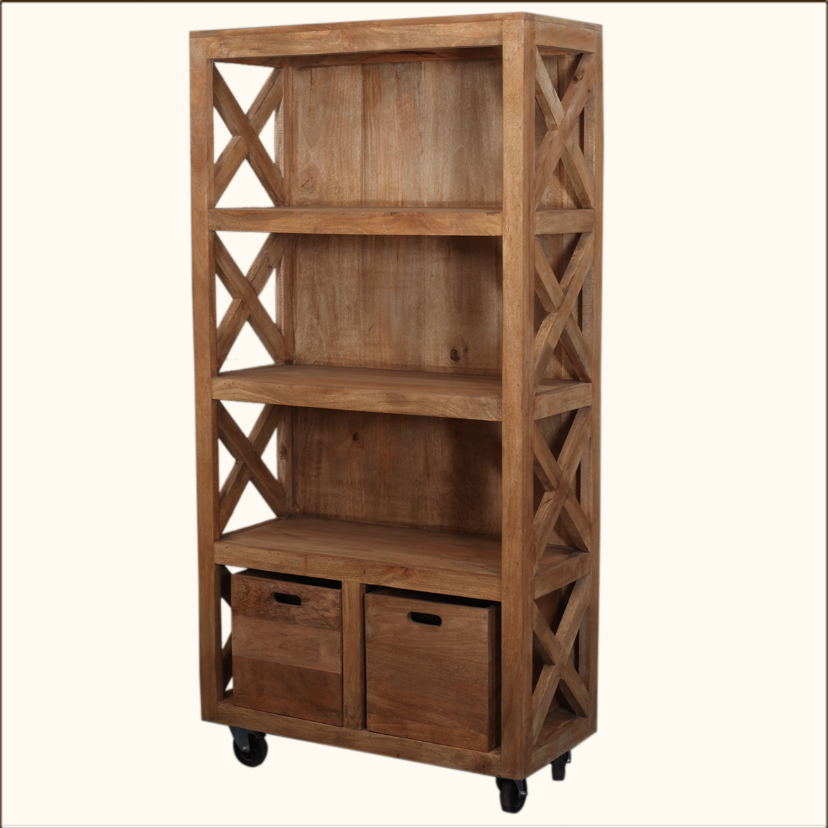 appalachian rustic mango wood rolling book case shelves w. Black Bedroom Furniture Sets. Home Design Ideas