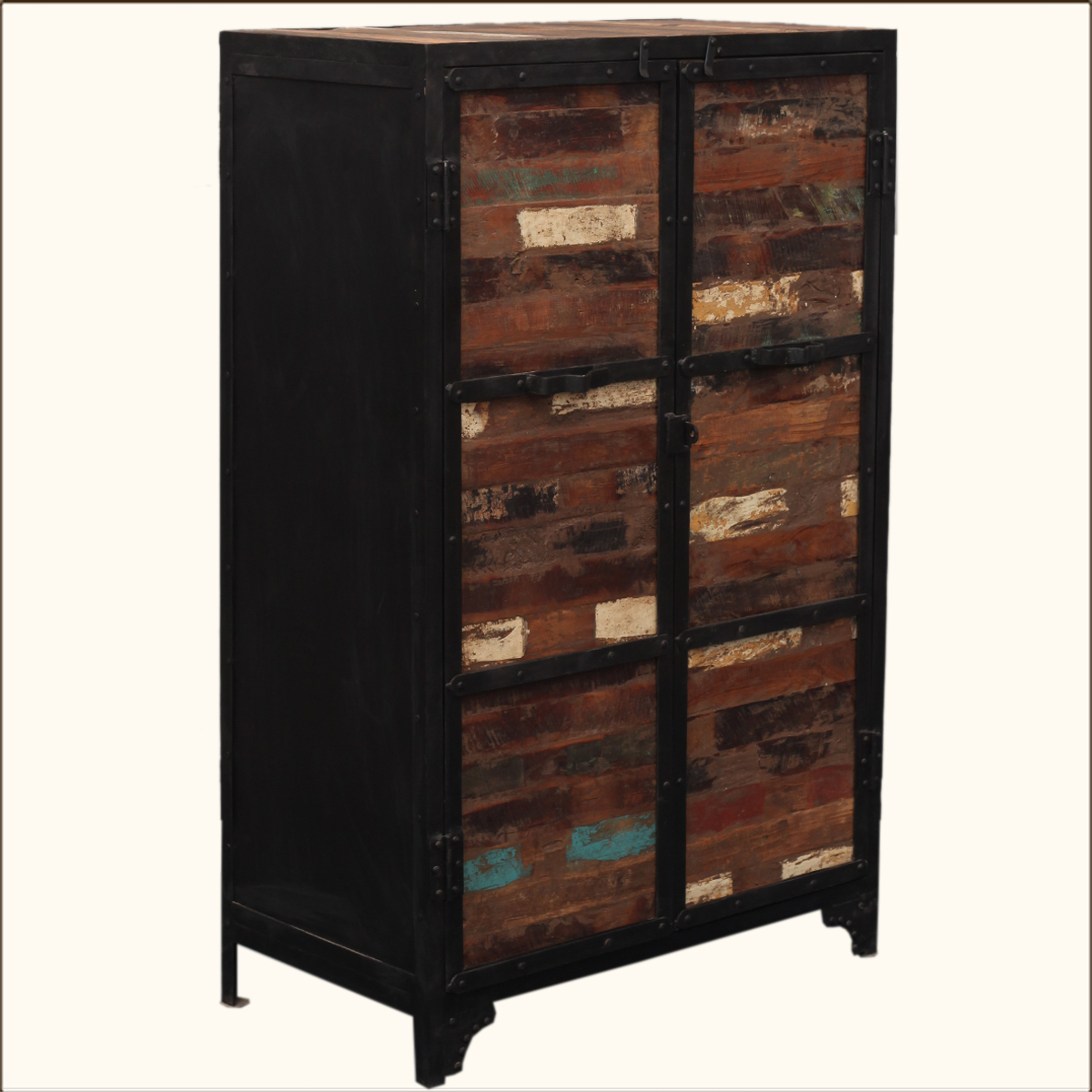industrial reclaimed wood iron rustic storage clothing. Black Bedroom Furniture Sets. Home Design Ideas