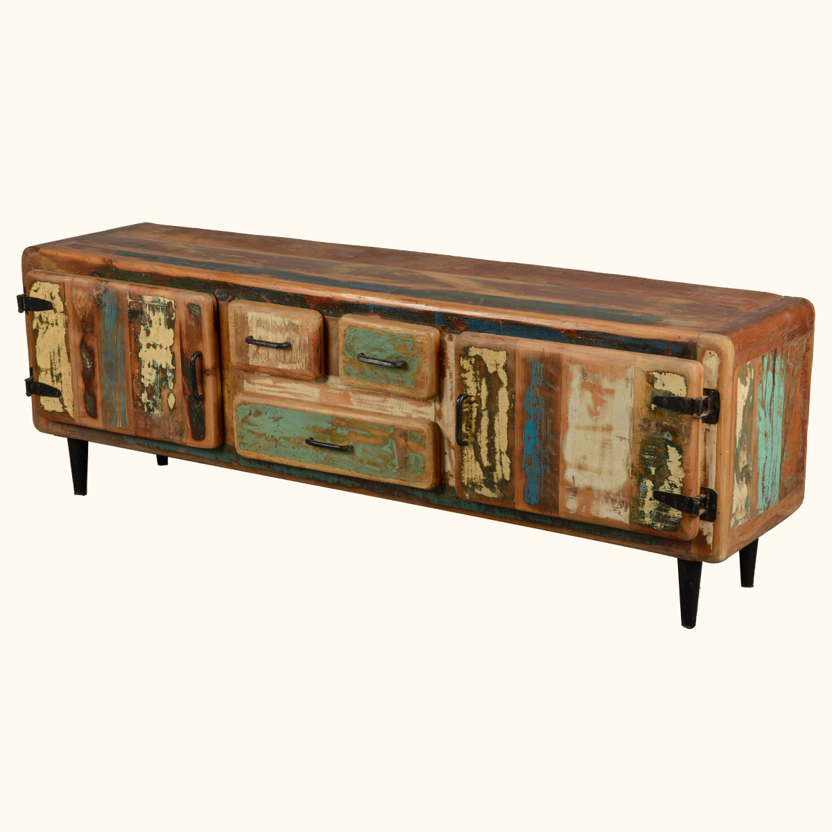 Reclaimed wood rustic media console tv stand cabinet